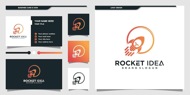 Rocket logo with cool gradient bulb concept and business card premium vector