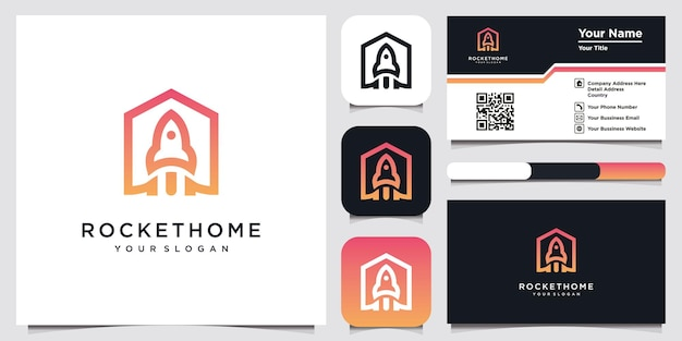 Rocket logo with home style design template and business card
