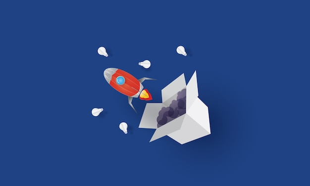 Rocket lunching from the box, think out of the box, business concept
