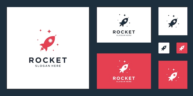 Rocket marketing abstract logo inspiration