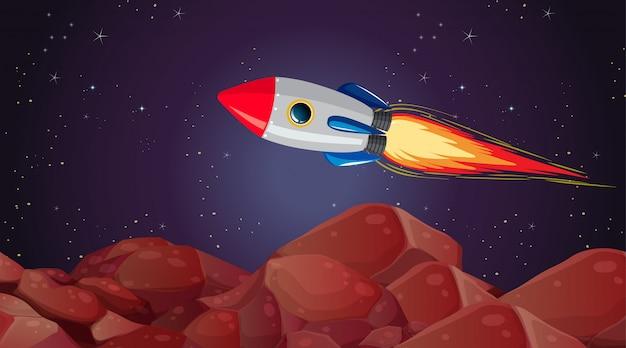 Rocket mars landscape scene