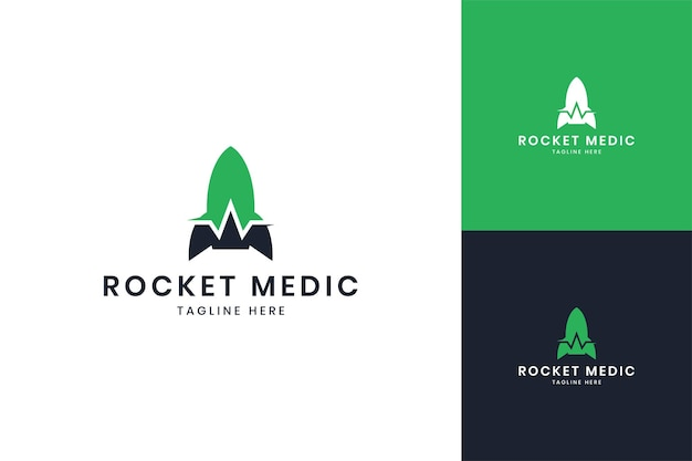 Rocket medic negative space logo design