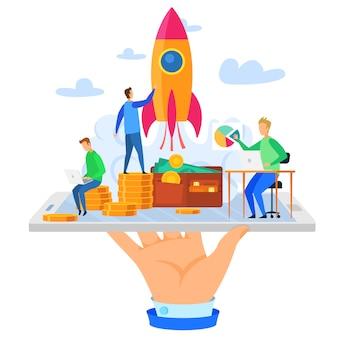 Рука держите мобильный телефон мультфильм rocket money team
