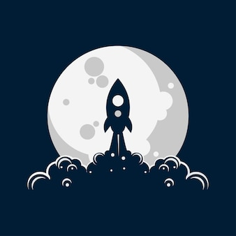 Rocket moon launch illustration logo