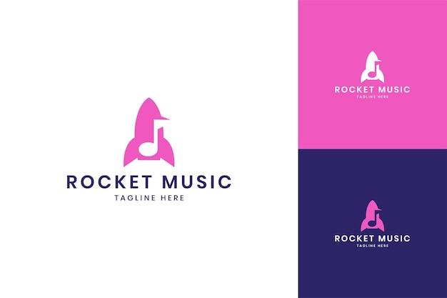 Rocket music negative space logo design