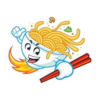 Rocket noodle bowl mascot design