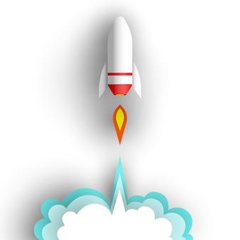 白い背景の上のロケット。図。