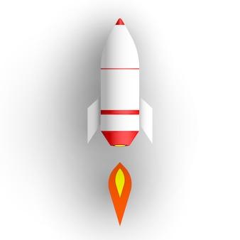 白い背景の上のロケット。