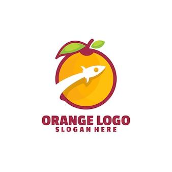 로켓 오렌지 로고 흰색 절연