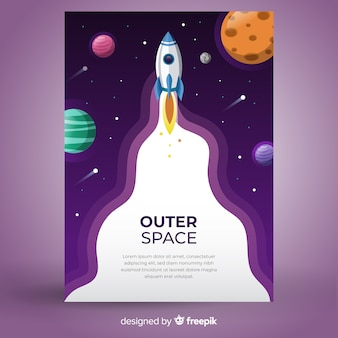 Rocket in outer space banner