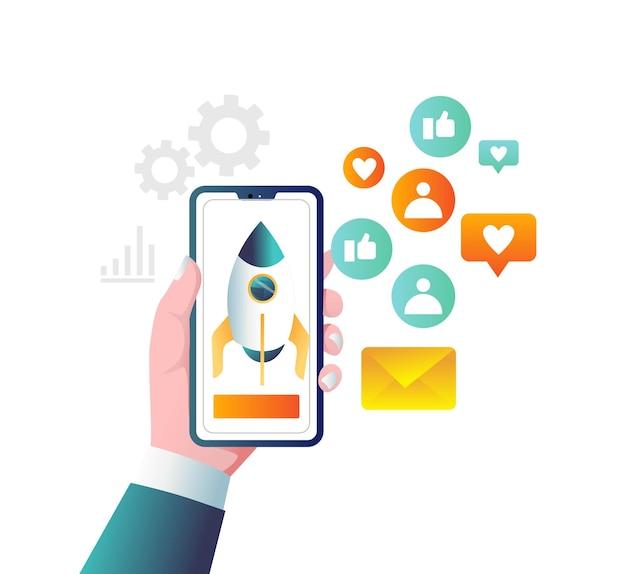 Ракета над смартфоном с маркетингом в социальных сетях