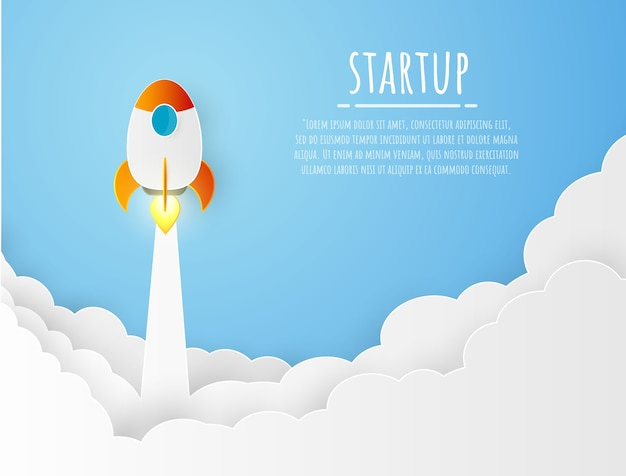 ロケットのペーパーカット現代デザインのスタートアップコンセプトビジネス