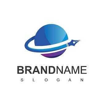 Логотип rocket pen, писатель, символ юридической фирмы и арт-компании