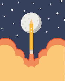 Rocket pencil banner background in flat style
