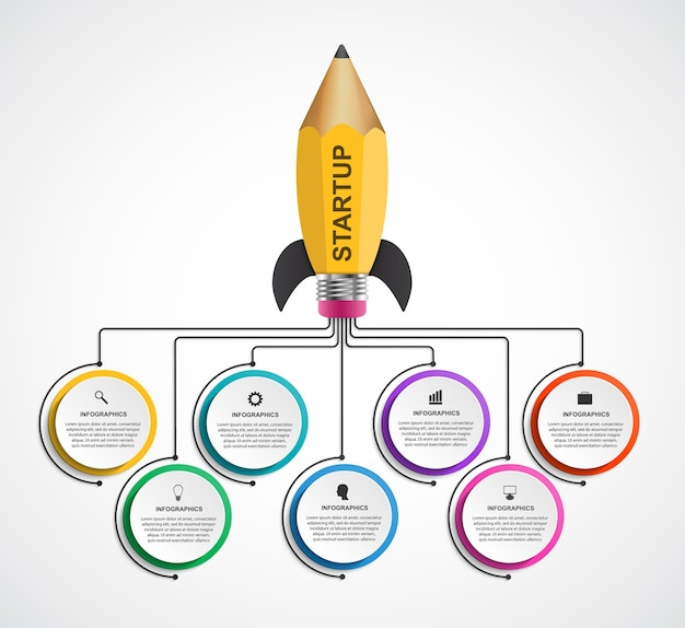 Rocket of a pencil for educational and business presentations and brochures