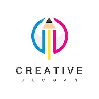 Rocket pencil logo creative launch symbol
