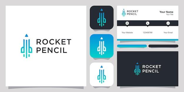 로켓 연필 로고 아이콘 기호 템플릿 로고와 명함