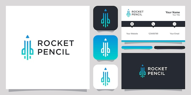 Rocket pencil logo icon symbol template logo and business card