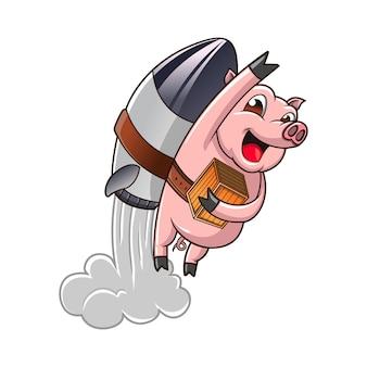 로켓 돼지 배달 로고 벡터