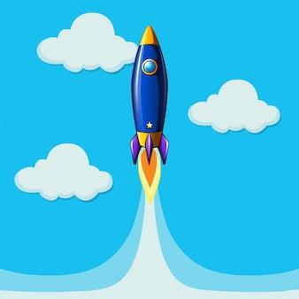Ракетный самолет, летящий в голубом небе