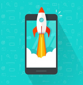 Rocket or rocketship launch or startup on mobile phone or cellphone