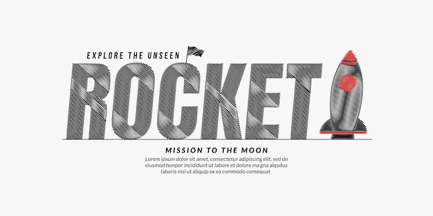 Rocket scribble text design background rocket lettering typography concept with spaceship