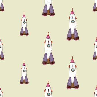 ロケットのシームレスパターン。宇宙船と宇宙旅行。