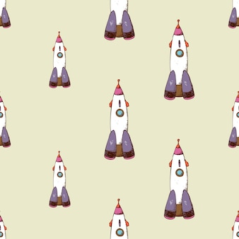 Rocket seamless pattern. spaceship and travel in space.