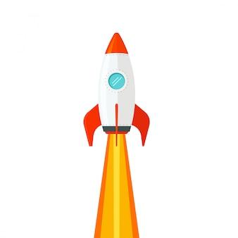 白い背景のフラット漫画に分離された飛行のロケット船