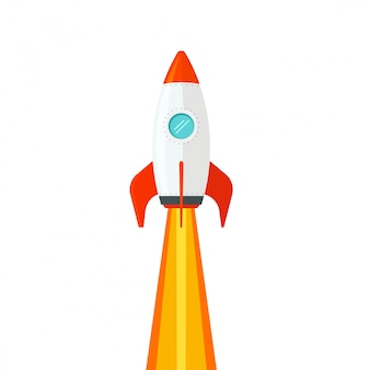 Rocket ship flying isolated on white background  flat cartoon