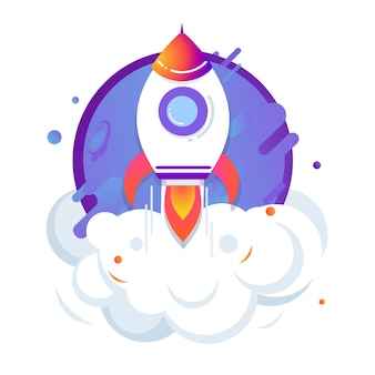 Rocket ship launch. concept of business project. start up vector illustration