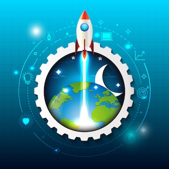 Rocket ship launch with technology abstract background.