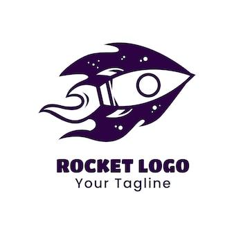 Rocket ship silhouette logo design