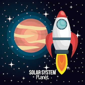 Rocket ship solar system isolated