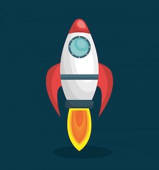 Rocket ship solar system isolated