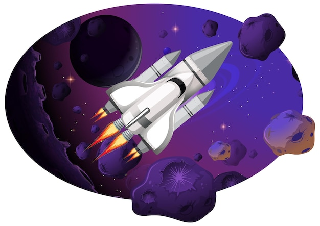 Rocket ship with asteroids in galaxy