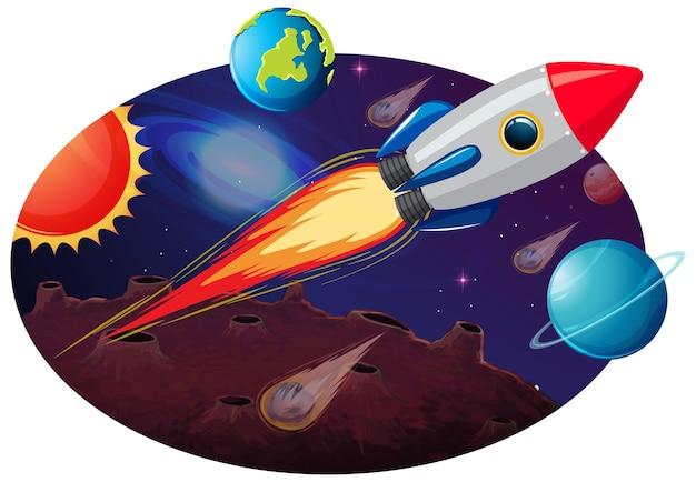 많은 행성과 소행성이 있는 로켓 우주선