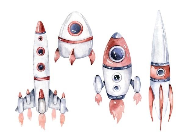 Rocket and shuttle isolated watercolor space ship illustration on white background