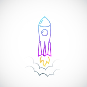 Rocket simple icon with flame and smoke