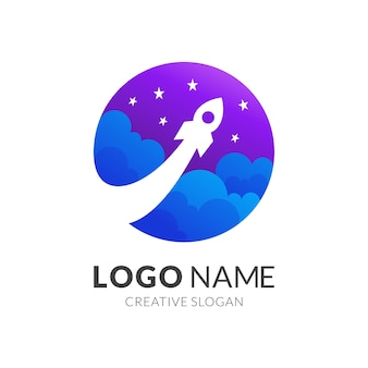 Rocket and sky logo template, modern  logo style in gradient purple and blue color