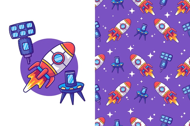 Rocket in the space cartoon illustrations with seamless pattern