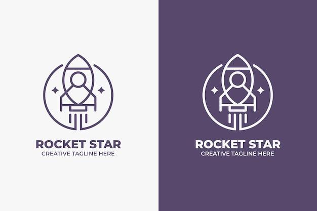 Rocket space galaxy monoline logo