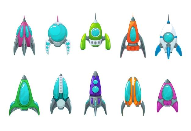 Ракета, космический корабль, космический корабль и мультфильм иконки набор космонавтов космического корабля, космических технологий и галактических путешествий. ракетные корабли изолированные объекты с окнами или иллюминаторами, килями и соплами