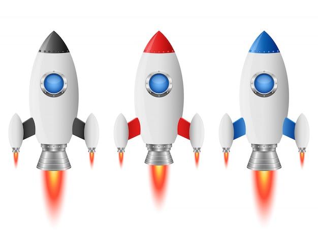 흰색 배경에 로켓 우주선 그림