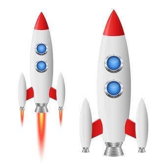白い背景の上のロケット宇宙船イラスト