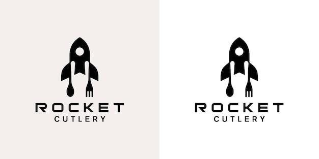 로켓 스푼과 포크 로고 디자인
