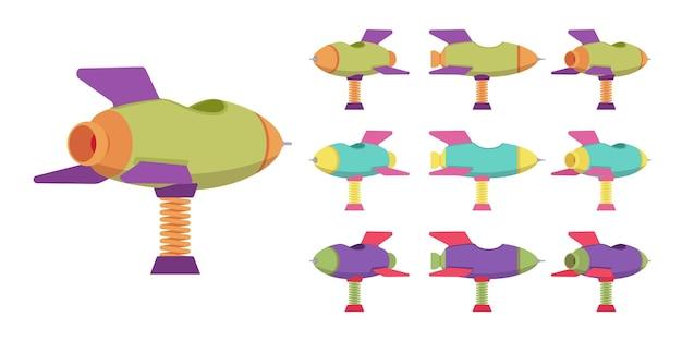 로켓 스프링 라이더 놀이터 세트, 탄력 있는 우주선, 야외 재생 장치. 아이들은 장난감을 타고 있습니다. 흰색 배경, 다른 보기 및 색상에 고립 된 벡터 평면 스타일 만화 그림
