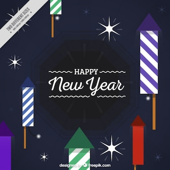 Rocket and stars background for new year