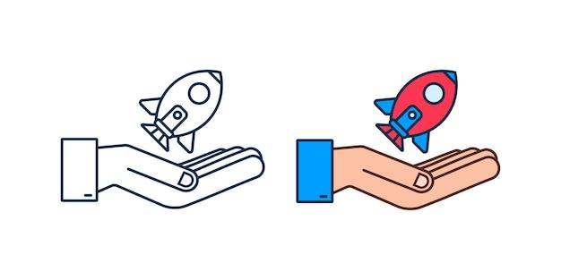 Rocket start up concept in hands. vector illustration.