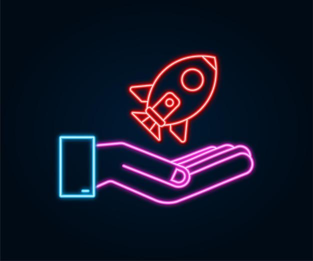 손에 로켓 시작 개념입니다. 네온 아이콘입니다. 벡터 일러스트 레이 션.